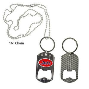 Metal Dog Tag Key Chain Necklace Bottle Opener